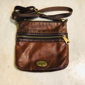 Fossil leather crossbody purse.